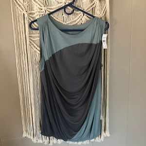 NWT Loft blue and grey drapey tank top siZe med